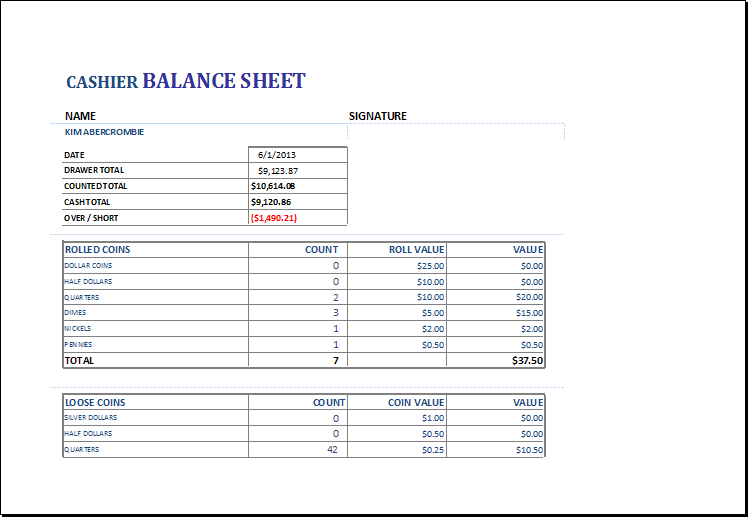 Bank Balance Sheet Template Free