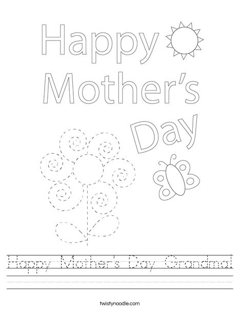Happy Mother's Day Grandma Worksheet - Twisty Noodle