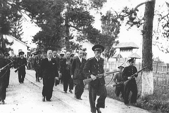 Former Romanian prime minister Ion Antonescu being led to his execution. Camp Jivava, near Bucharest, Romania, June 1, 1946.