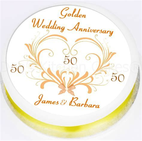 Cake Toppers :: Anniversaries :: Golden :: Personalised