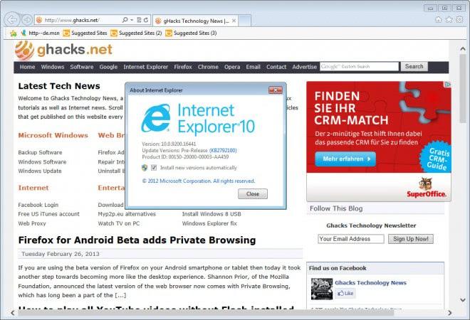 internet explorer 10 screenshot