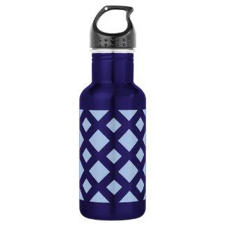Light Blue Diamonds on Dark Blue 18oz Water Bottle