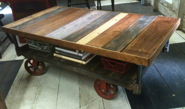 Yellow Chair Market » Industrial Cart Coffee Table