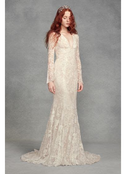 White by Vera Wang Bell Sleeve Lace Wedding Dress   David