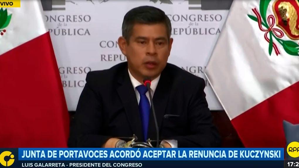 Luis Galarreta, presidente del Congreso.