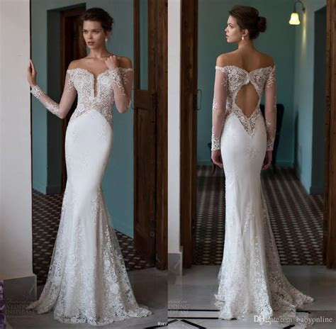 2019 Off the Shoulder Mermaid Wedding Dresses Plunging V
