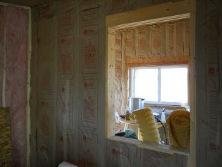Summer Kitchen Main cross wall Insulated--View from Piano Room