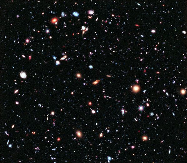 A composite image of the eXtreme Deep Field...taken by the Hubble Space Telescope over a span of 10 years.