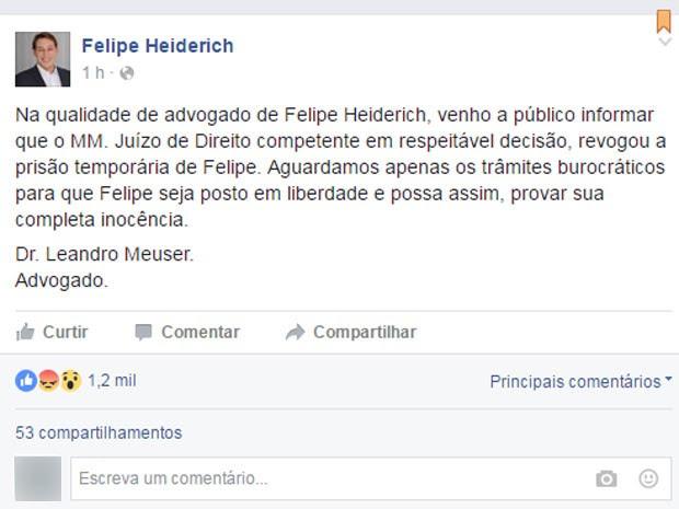 O advogado Leandro Meuser usou o perfil do pastor Felipe, seu cliente, para comunicar que havia conseguido a revogação da prisão (Foto: Reprodução/Facebook)