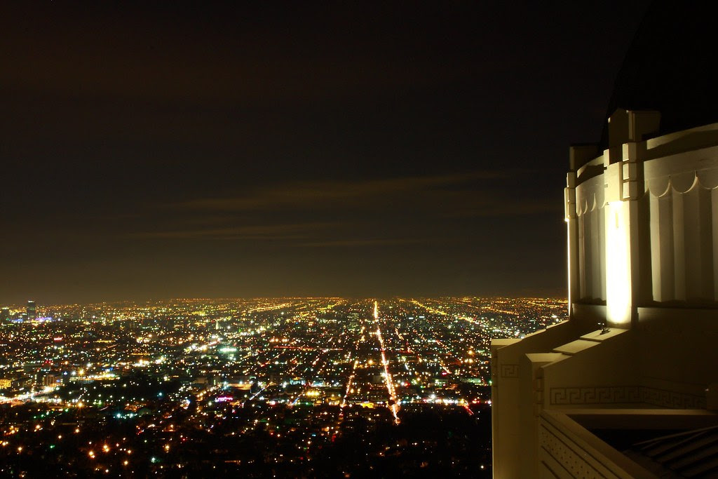 Night view of Observatory in LA.