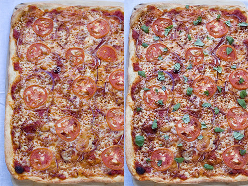 Smokey pizza - before/after basil