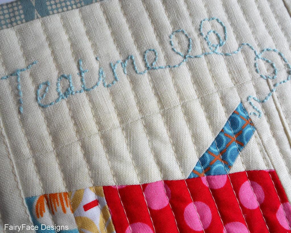 Teapot mug rug embroidery