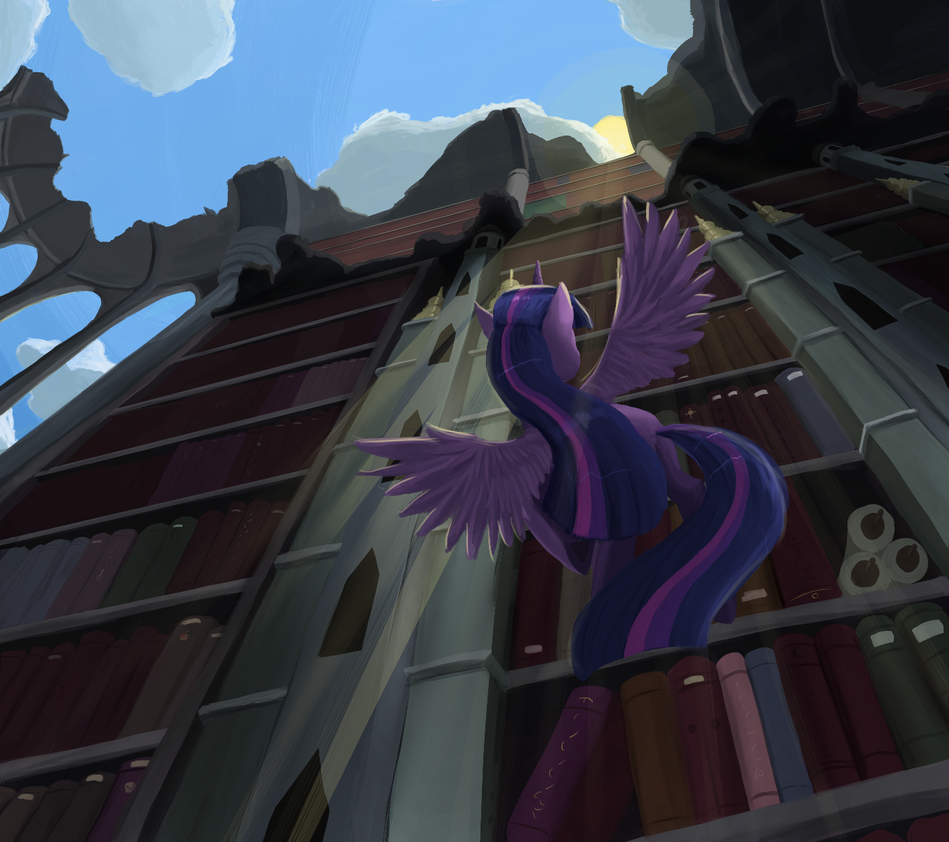 http://bakuel.deviantart.com/art/Twilight-Sparkle-in-the-Library-Ruins-419966359