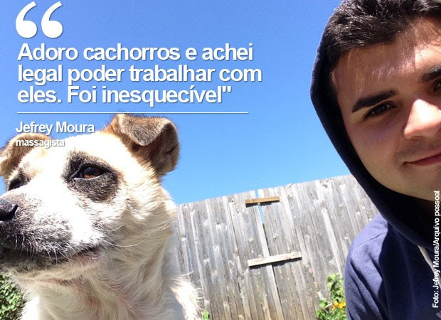 Adoro cachorros e achei legal poder trabalhar com eles. Foi inesquecível, diz Jefrey Moura (Foto: Jefrey Moura/Arquivo pessoal)