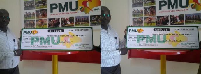 PMU-Mali : deux grands gagnants reçoivent leur chèque