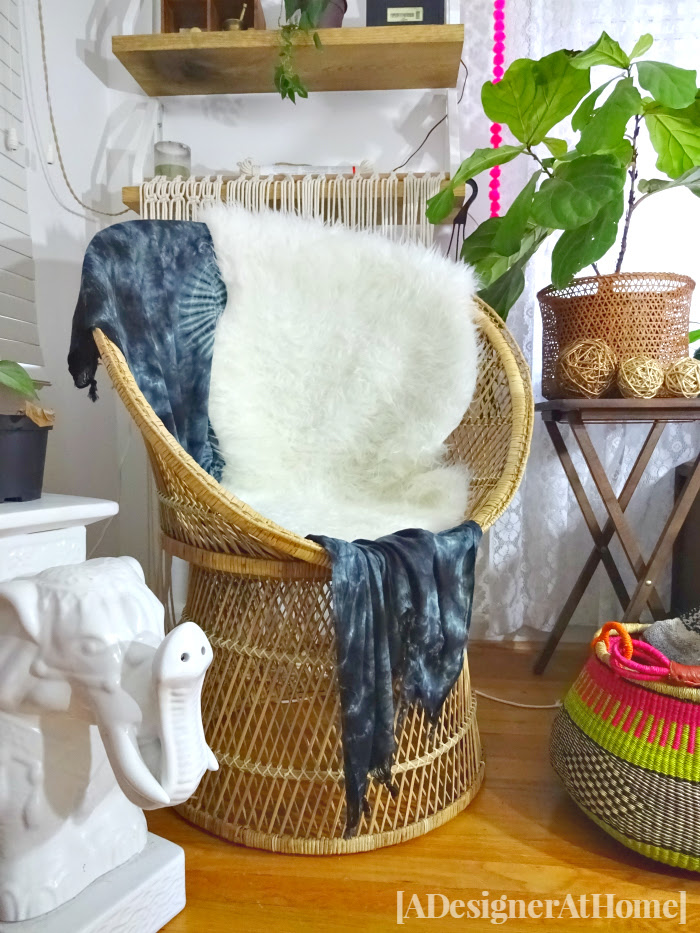 thrifted wicker chair