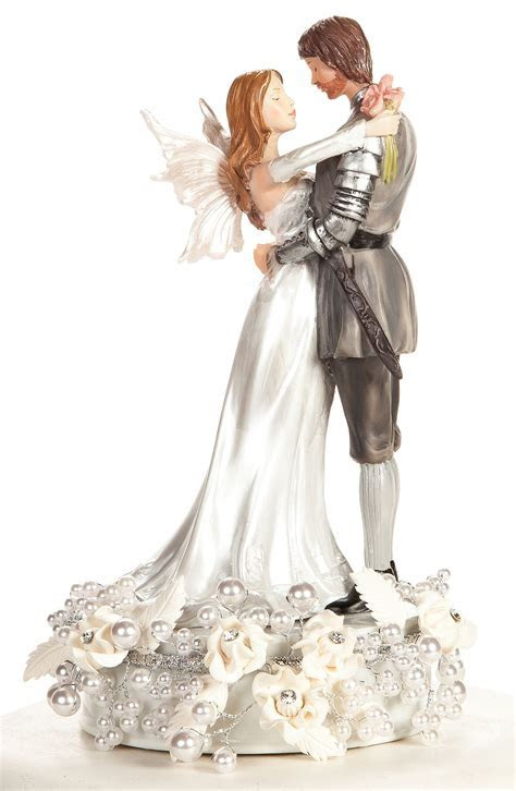 Rose and Pearls Fantasy Fairy Wedding Cake Topper