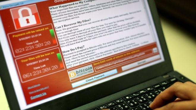 Wannacry ransomware attack screenshot_EPA-BBC
