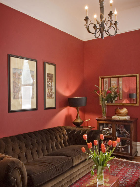Red And Brown Living Room Design Ideas, Pictures, Remodel ...