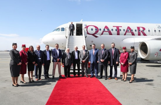 Qatar Airways' debut flight from Doha to Thessaloniki lands