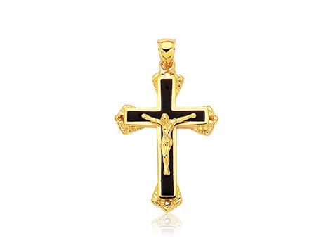 black onyx cross pendant   yellow gold richard
