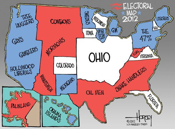 An illustration showing Ohio's place on the 2012 Electoral Map.