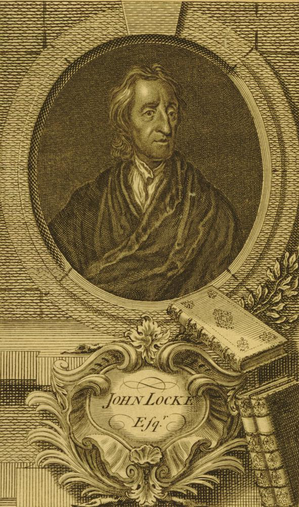 Portrait of John Locke; half length, head turned towards  right; wearing a loose gown over shirt with high open collar; with short hair; in oval frame with books, branches, and title on cartuoche below.  Etching and engraving