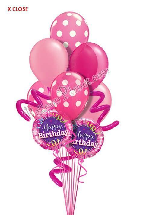 Jumbo Twisty Dots Pink Birthday Balloon Bouquet (9