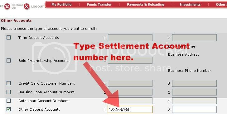 Settlement account number input at BPIExpressOnline