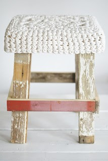 wood & big white wool stool