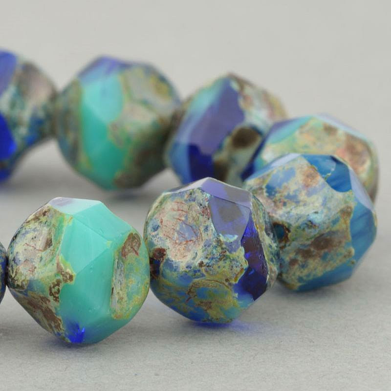 s49111 Czech Glass -  Central Cut - Turquoise Cobalt Mix Picasso (15)