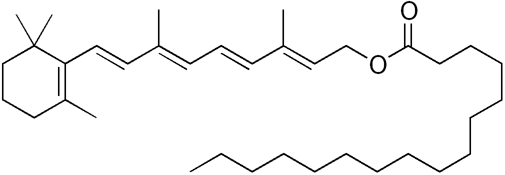 chemical structure of retinyl palmitate by Edgar181, on Wikimedia Commons