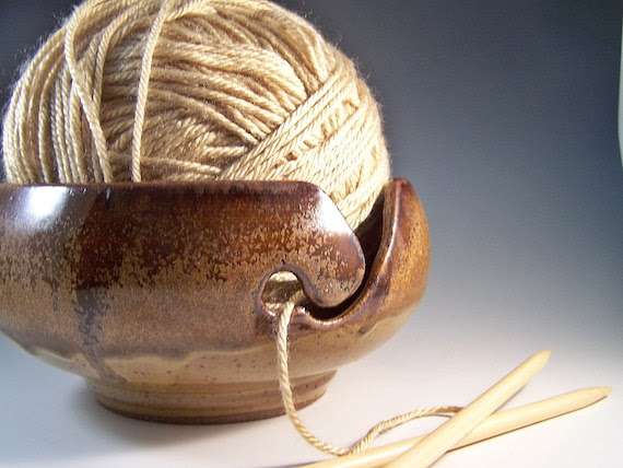 Made to Order - Amber and Toasty Cream Yarn Bowl