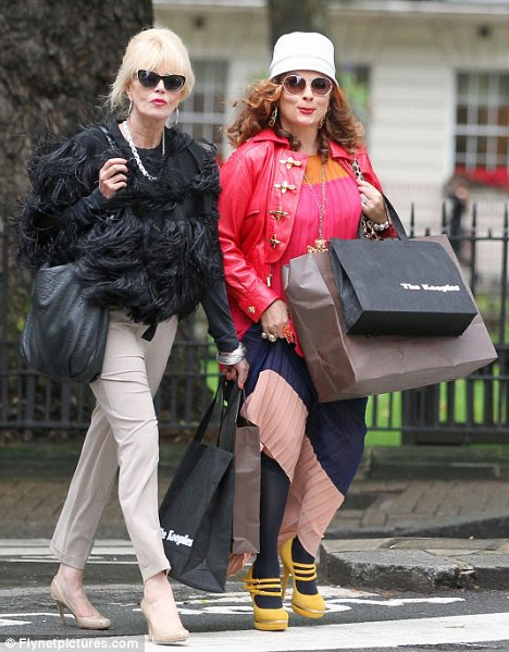 Shopping up a storm: Joanna Lumley and Jennifer Sunders have reprise their roles as Eddy and Patsy in Absolutely Fabulous