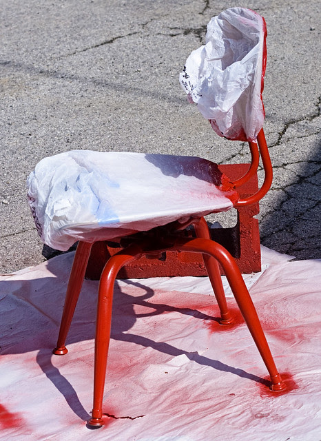 spray painting legs