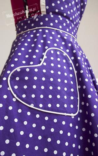 marchewkowa, szyciowy blog roku 2012, moda, retro, vintage, szycie, krawiectwo, Łucznik Helena, fartuszek, groszki, apron, 50s, bawełna, House of Cotton