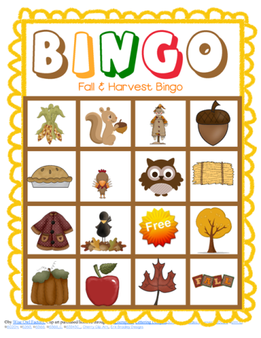 Fall and Harvest Class Bingo Free Printable | Bags, Candy corn and ...