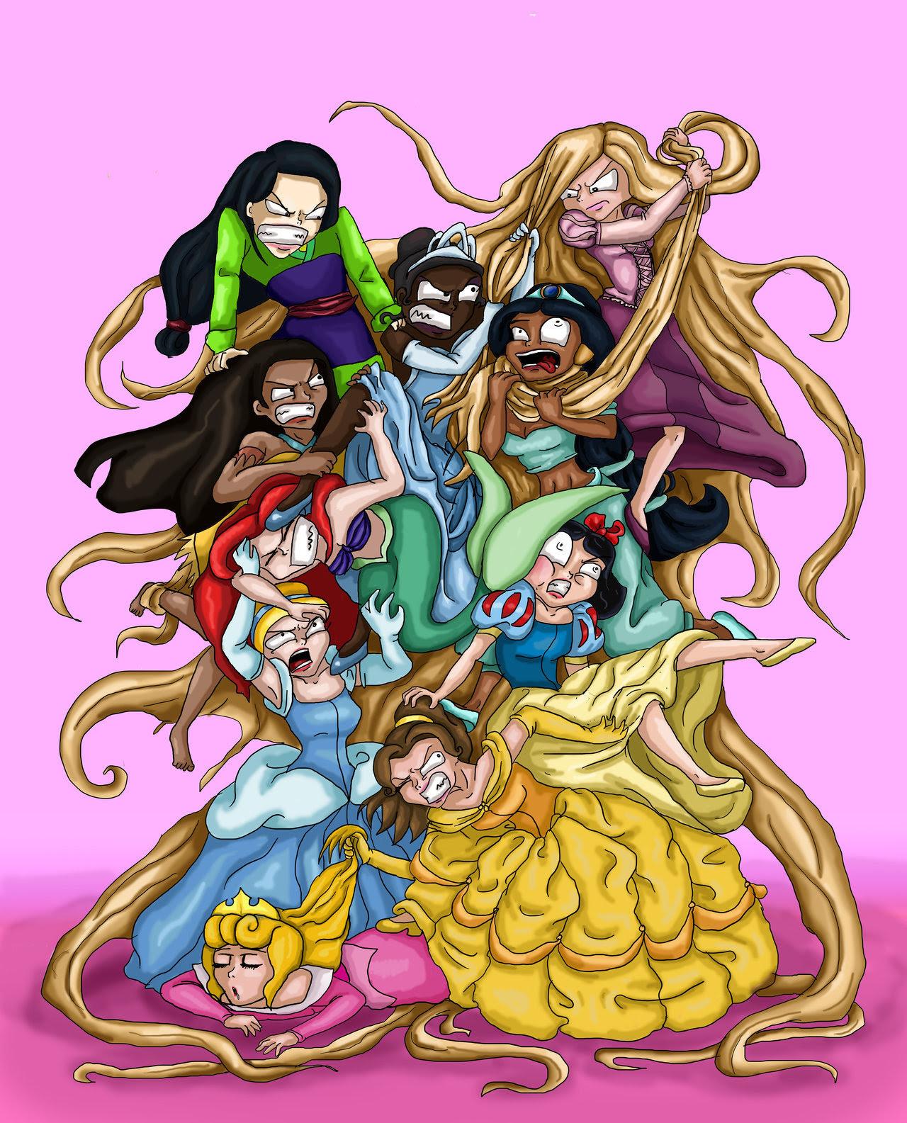 Princesas Disney peleando