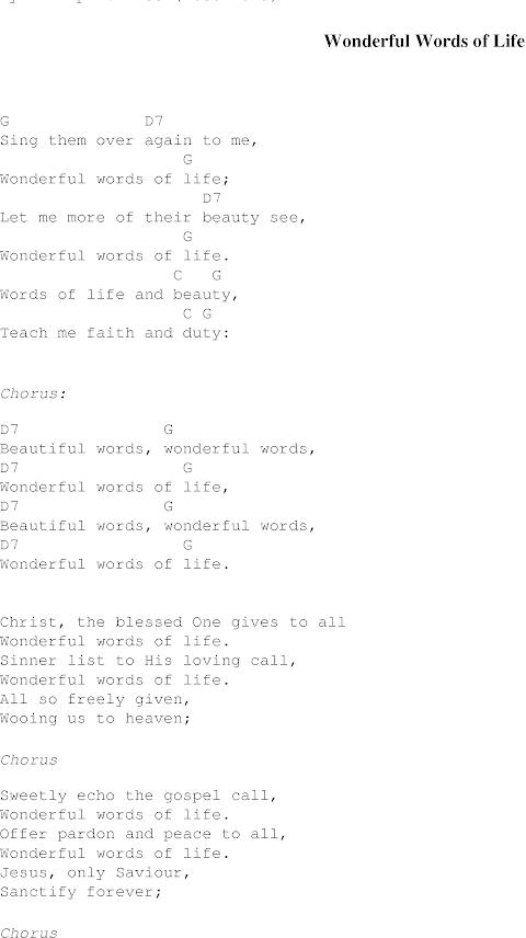 Wonderful Words Of Life Lyrics And Chords