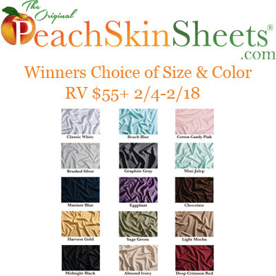 PeachSkinSheets Valentine's 2017 Giveaway. Ends 2/18