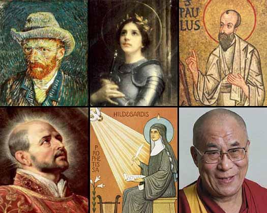 Muchas personalidades históricas han tenido experiencias místicas, como Vincent Van Gogh (arriba, izq.), Juana de Arco (centro), Paulo de Tarso (San Pablo) (der.), Ignacio de Loyola (abajo, izq.), Sor Hildergard Von Bingen (centro), y el Dalai Lama (der.).