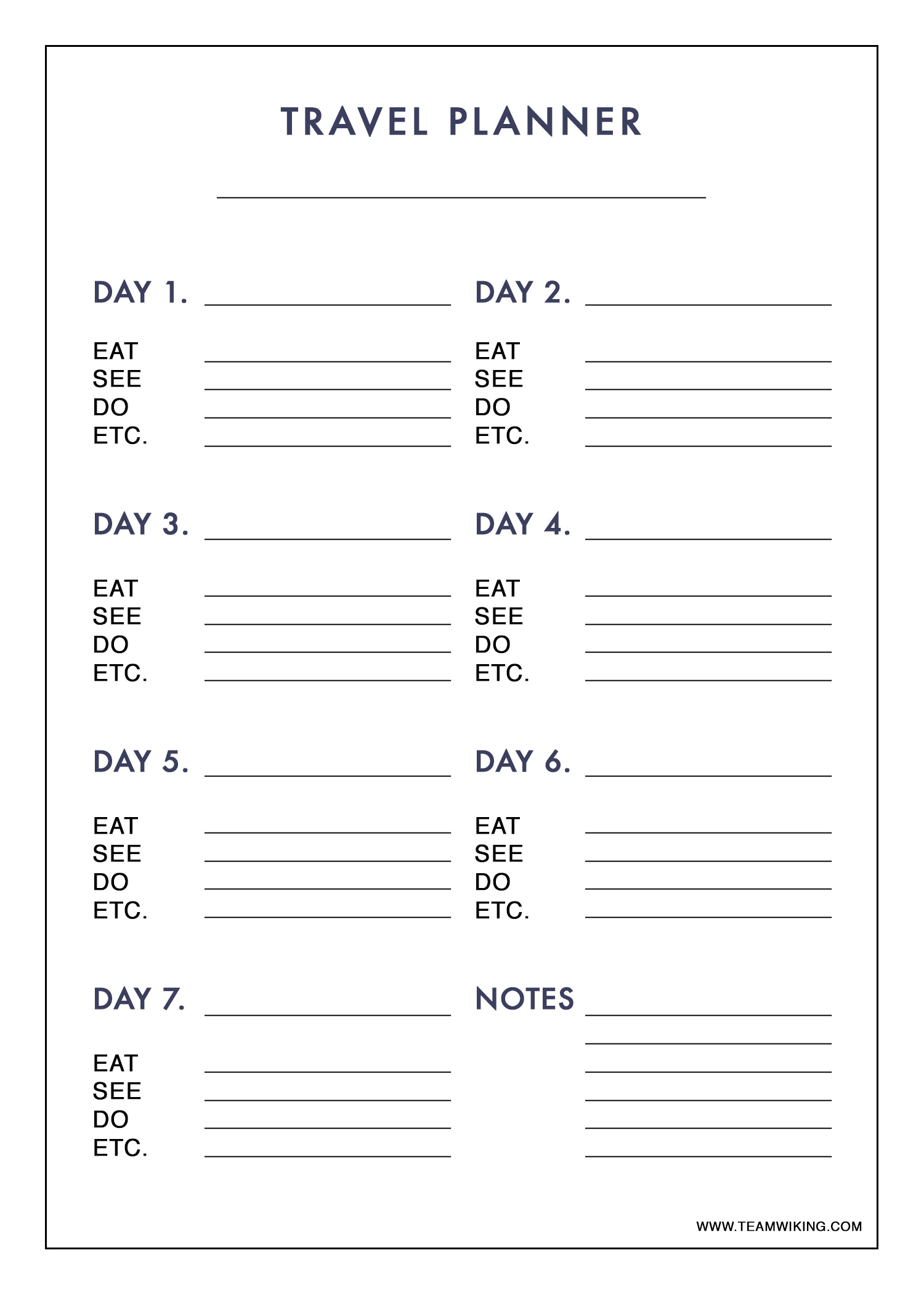 Printable Travel Planner - Hej Doll | Simple modern living ...