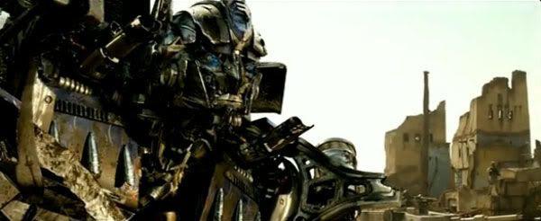 Optimus primed for battle in the Egyptian desert.