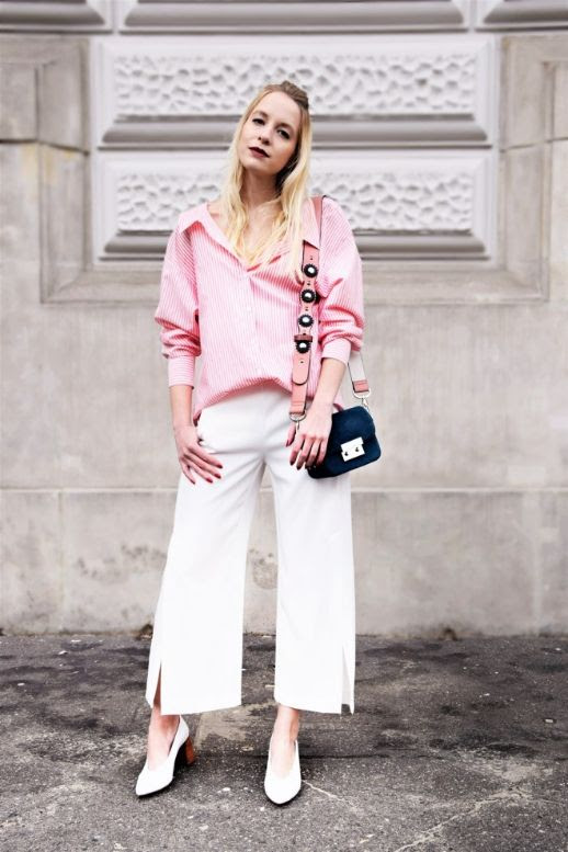 Le Fashion Blog Pink Blouse White Wide Leg Trousers White Block Heel Shoes Via Stylecaster