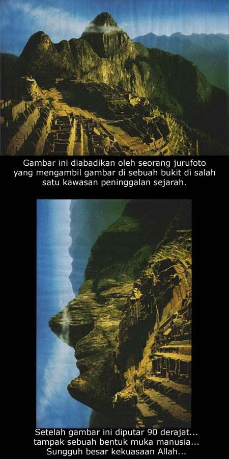 Gambar yang diklaim sebagai bukti kebesaran Allah. Sebuah bukit yang ketika diputar 90 derajat menampilkan wajah manusia - Sang Budha!