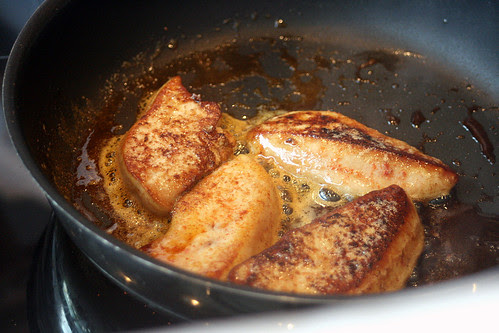 Is there a better sight to behold than foie gras sizzling in a pan?