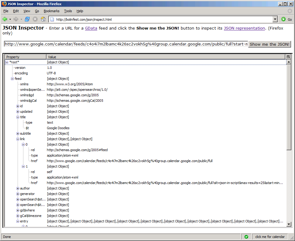Screenshot of JSON Inspector for GData