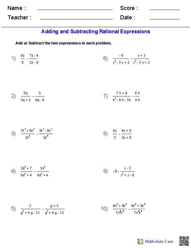 algebra2 adding subtracting rational expressions