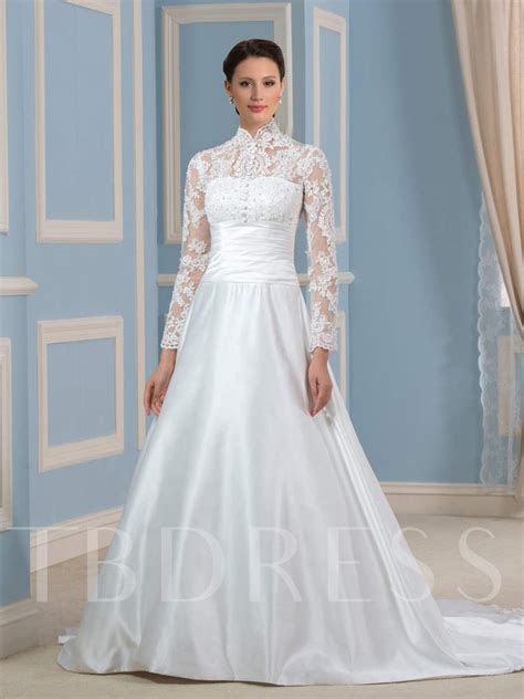 High Neck Long Sleeve Appliques Wedding Dress   Tbdress.com