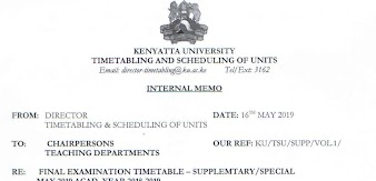 Kenyatta University May 2019 Supplementary and Special Exams Notice